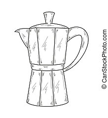 Italian Coffee Maker Sketch Clip Art Illustration