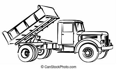 Sketch of the dump truck.