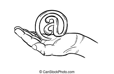 sketch of the e-mail sign in hand, isolated