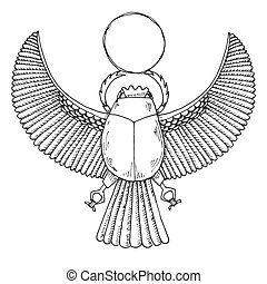 Sketch of the Egyptian scarab. Vector illustration