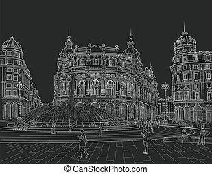 sketch of the Ferrari square in the Italian city of Genoa. ...