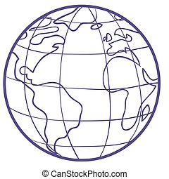 sketch of the globe with continents and seas, isolated object on a white background, vector illustration,