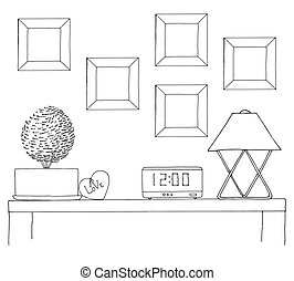 Sketch of the interior. A table, a bedside table, a shelf...