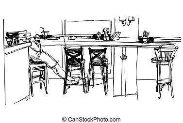sketch of the interior cafe