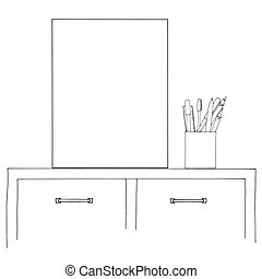 Sketch of the interior. Table, bedside table, shelf with various interior items. Can be used as a mock up. Frame for your graphics.