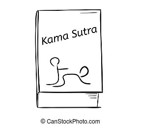 kama sutra book - sketch of the kama sutra book on white...