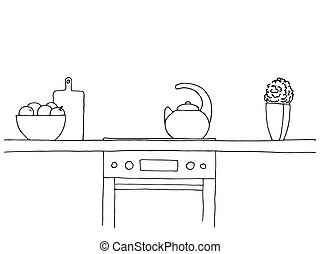 Sketch of the kitchen. Worktop, stove, kettle and other...