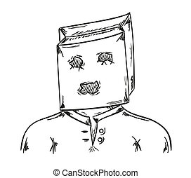 man with paper bag on his head