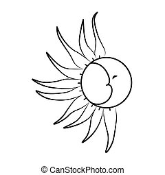 Sketch of the moon and sun on a white background. Tattoo, vector illustration.