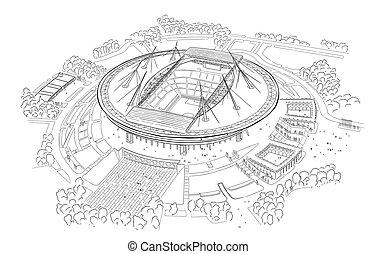 Sketch of the new stadium on Krestovsky island. - Sketch a...