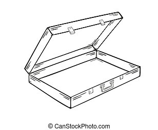 sketch of the open empty suitcase on white background, isolated