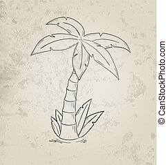 sketch of the palm tree on grunge background