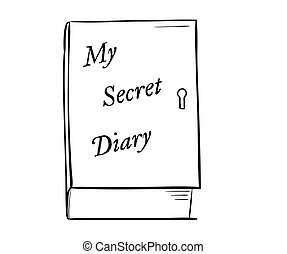private diary - sketch of the private diary on white...