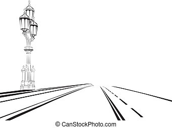 sketch of the road with a lantern