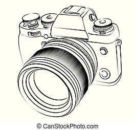 Sketch of the SLR camera. - A sketch of the old SLR camera.