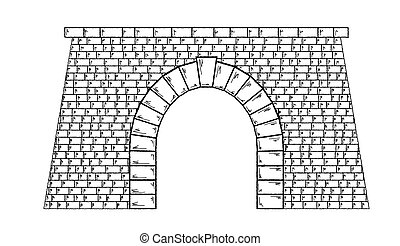 stone tunnel - sketch of the stone tunnel on white ...