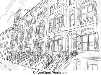 Sketch of the street on white background
