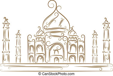 Taj Mahal - Sketch of the Taj Mahal golden brush
