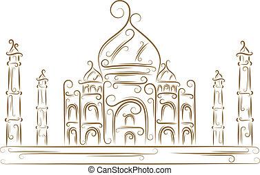Taj Mahal - Sketch of the Taj Mahal golden brush