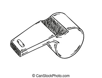 sketch of the whistle on the black background