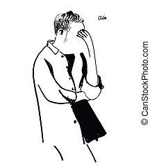 Sketch of thinking man Hand drawn vector illustration