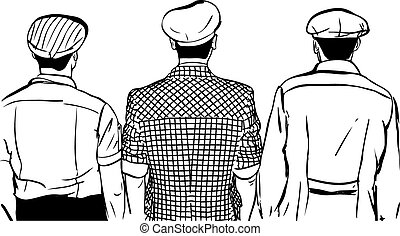 sketch of three men in caps turned back - black and white...