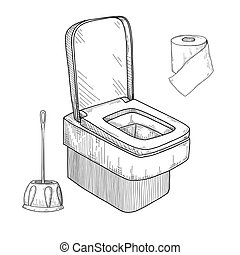 Sketch of toilet bowl and other toiletries isolated on white...