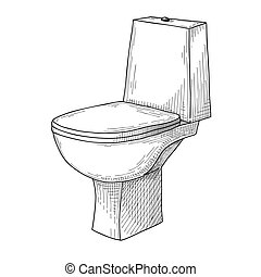Sketch of toilet bowl isolated on white background. Vector
