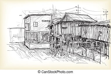 sketch of townscape in Phnom Penh slum wood house, free hand draw illustration vector