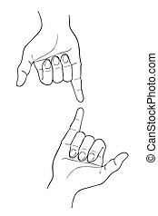 Sketch of Two Shaka Hand on White Background
