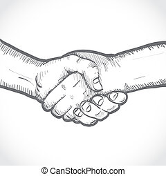 Sketch of two shaking hands