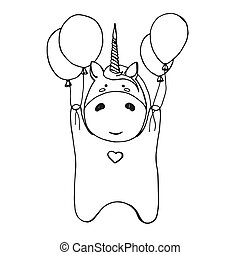 Sketch of unicorn with balloons isolated on white background. Vector illustration