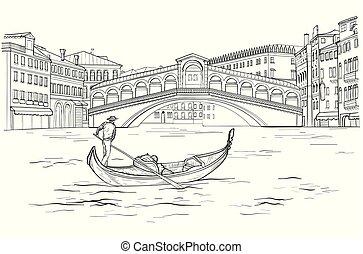 Sketch of Venetian gondola with gondolier, Realto bridge....