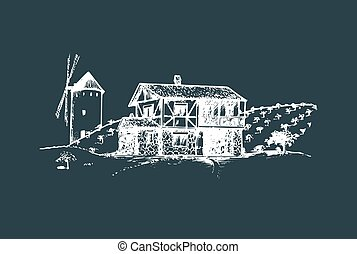 Sketch of village with windmill, fields and peasants house. Vector rural landscape illustration.