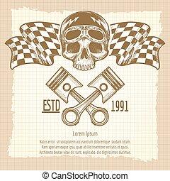 Sketch of vintage biker rider skull