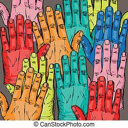 Sketch of volunteer group raising hands . Vector...