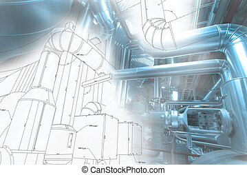 Sketch of water tank design mixed with industrial equipment photo