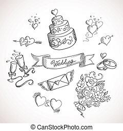 Sketch of wedding design elements. Hand drawn illustration
