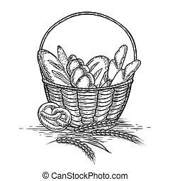 Sketch of wheat bakery basket