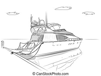 Sketch of white yachts in the port waiting. On the sea is calm. .Vector.