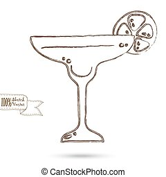 Sketch of Wine Glass Isolated On The White Background