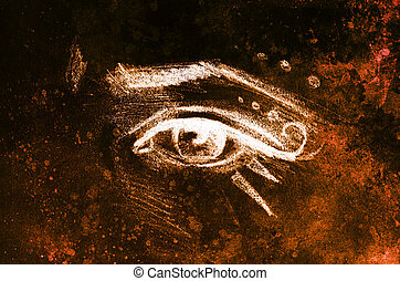 sketch of woman eye with eyebrow and makeup ornaments, drawing on abstract background.