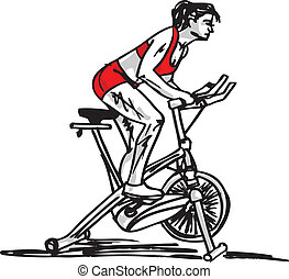 sketch of Woman on stationary training bicycle