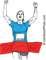 Sketch of woman reaching the finish line in a running event....