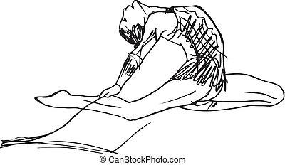 Sketch of woman rhythmic gymnastics art dancer. Vector illustration