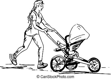 Sketch of woman Running with Buggy