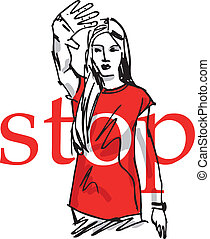 sketch of Woman showing his hand in signal of stop. vector...
