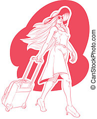 Sketch of Woman Tourist Travelling