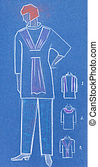 sketch of women casual and home clothing - sketch of fashion...