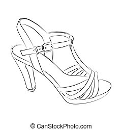 Sketch of women shoe on a white background. Vector illustration.